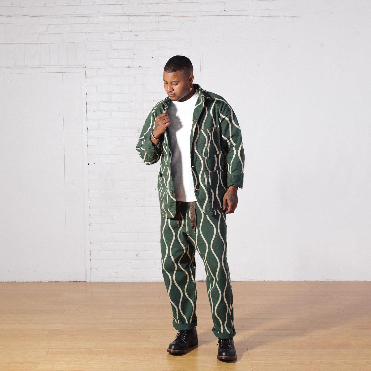 kapital-Cotton-Linen Canvas Drunken Stripe Cactus Coverall Jacket - Green-Onbody-09.jpg