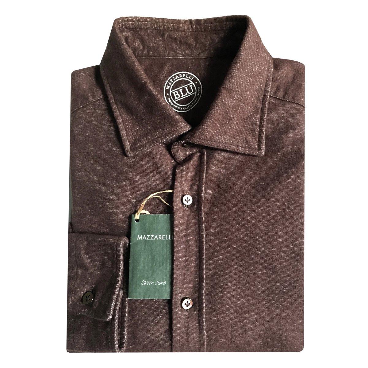 Mazzarelli Brown Slim Fit Moleskin Shirt.jpg