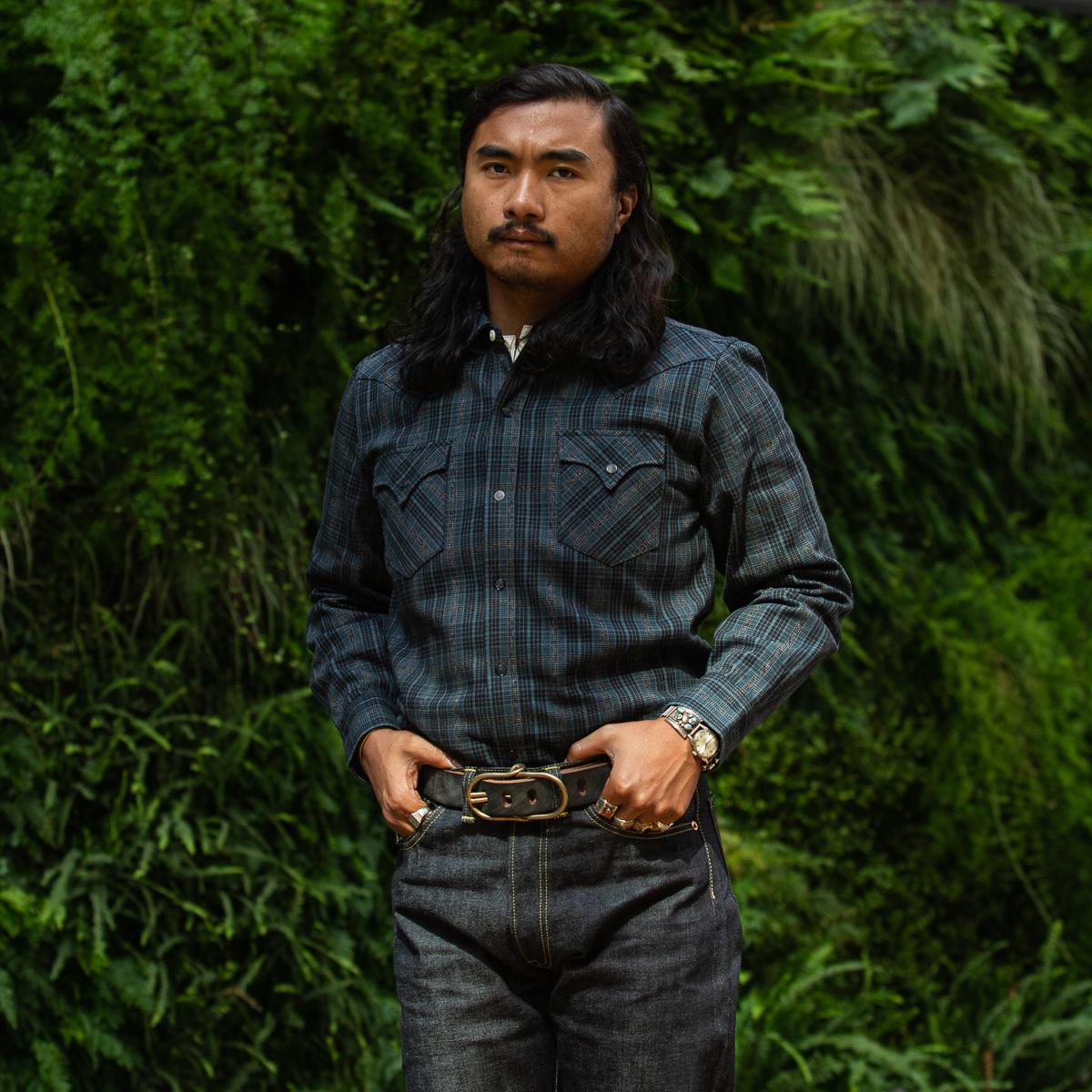 Mister Freedom - Dude Rancher Shirt - Indigo x Covert Check-Flat-16-Onbody-5760 x 3840-01.jpg