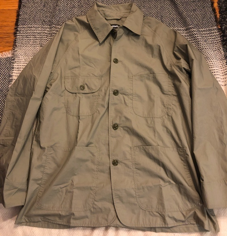 Monitaly cotton-poplin chore jacket:coverall in sage in size 42.jpg