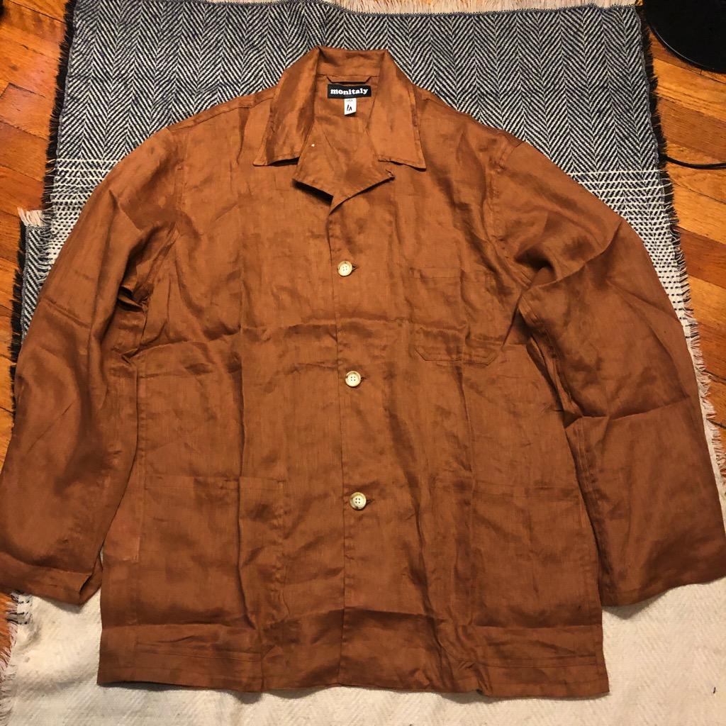 Monitaly linen shirt jacket (Italian jail jacket) in brown in size 42.jpg