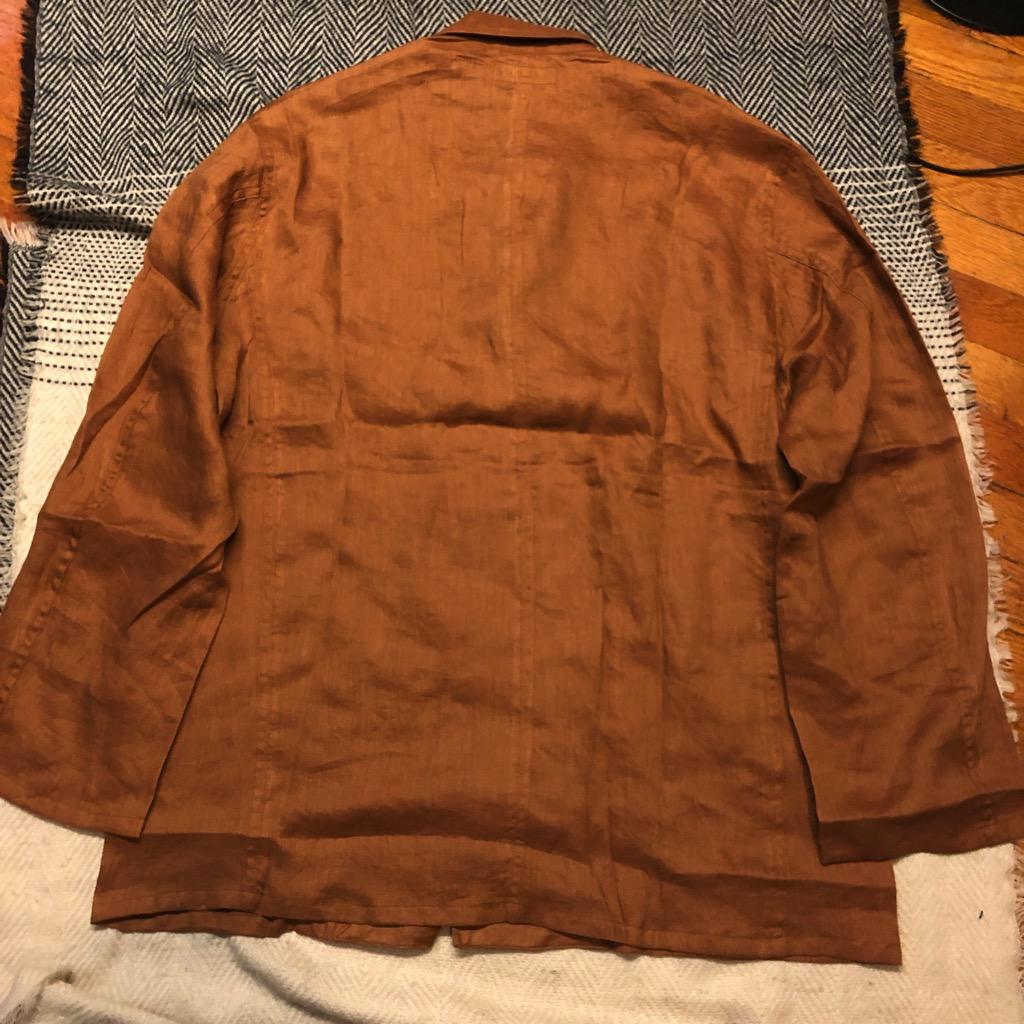 Monitaly linen shirt jacket (Italian jail jacket) in brown in size 42_4.jpg
