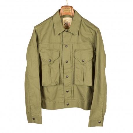 Monitaly Radio Jacket in olive herringbone cotton in size 44.jpg