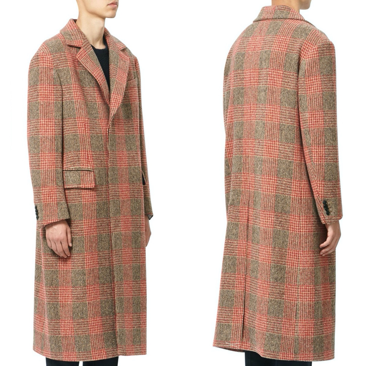 MP Massimo Piombo Red PrinceofWales Check Wool Coat fit1.jpg
