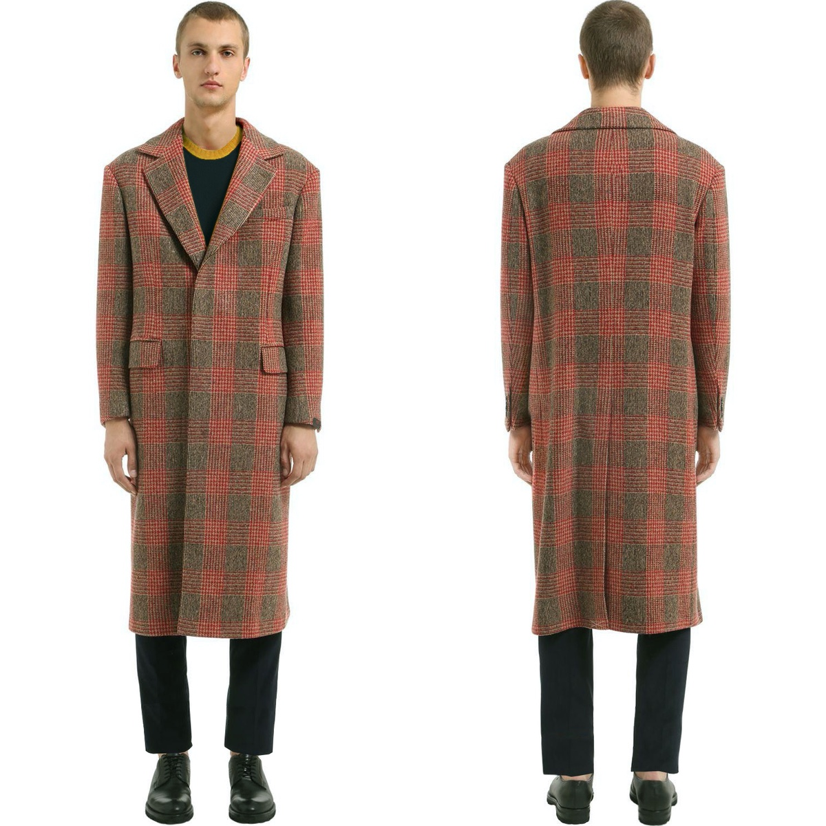 MP Massimo Piombo Red PrinceofWales Check Wool Coat fit2.jpg