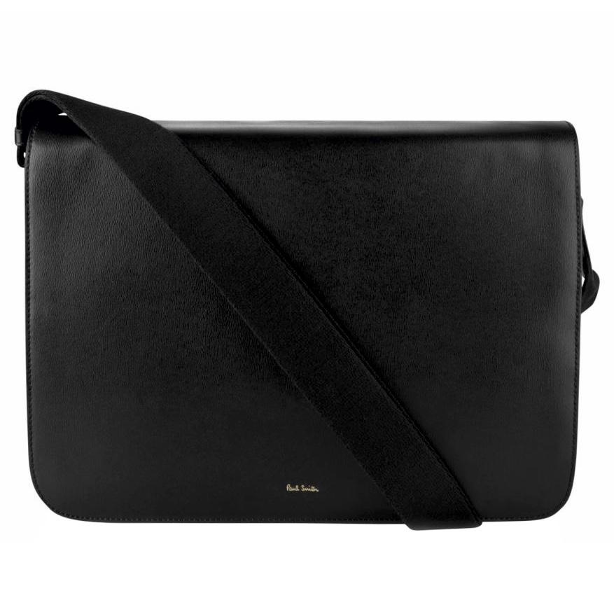 PAUL SMITH New City Messenger Bag Black front.jpg