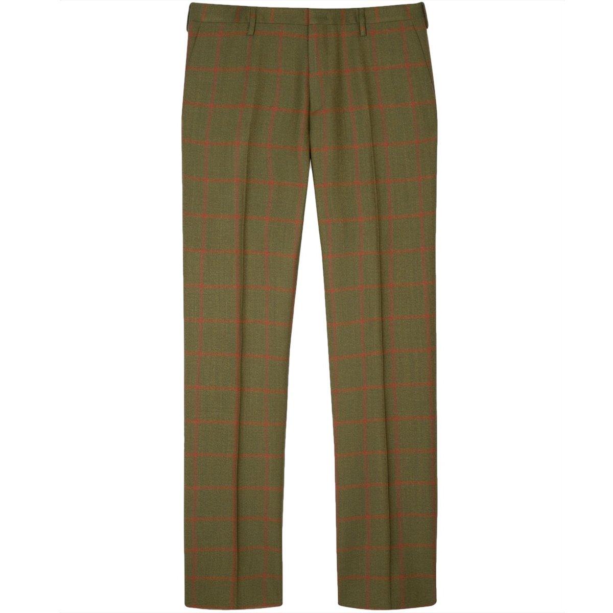 Paul Smith Windowpane Check Green Wool Pants.jpg