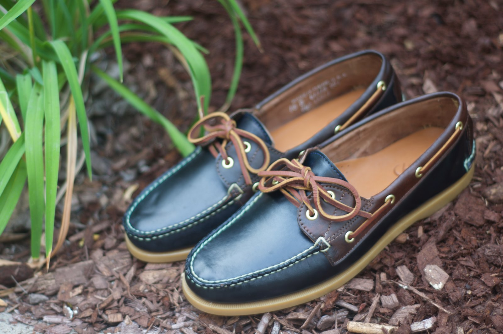 Rancourt Navy and Brown Shell Boat Shoes - 2.jpg