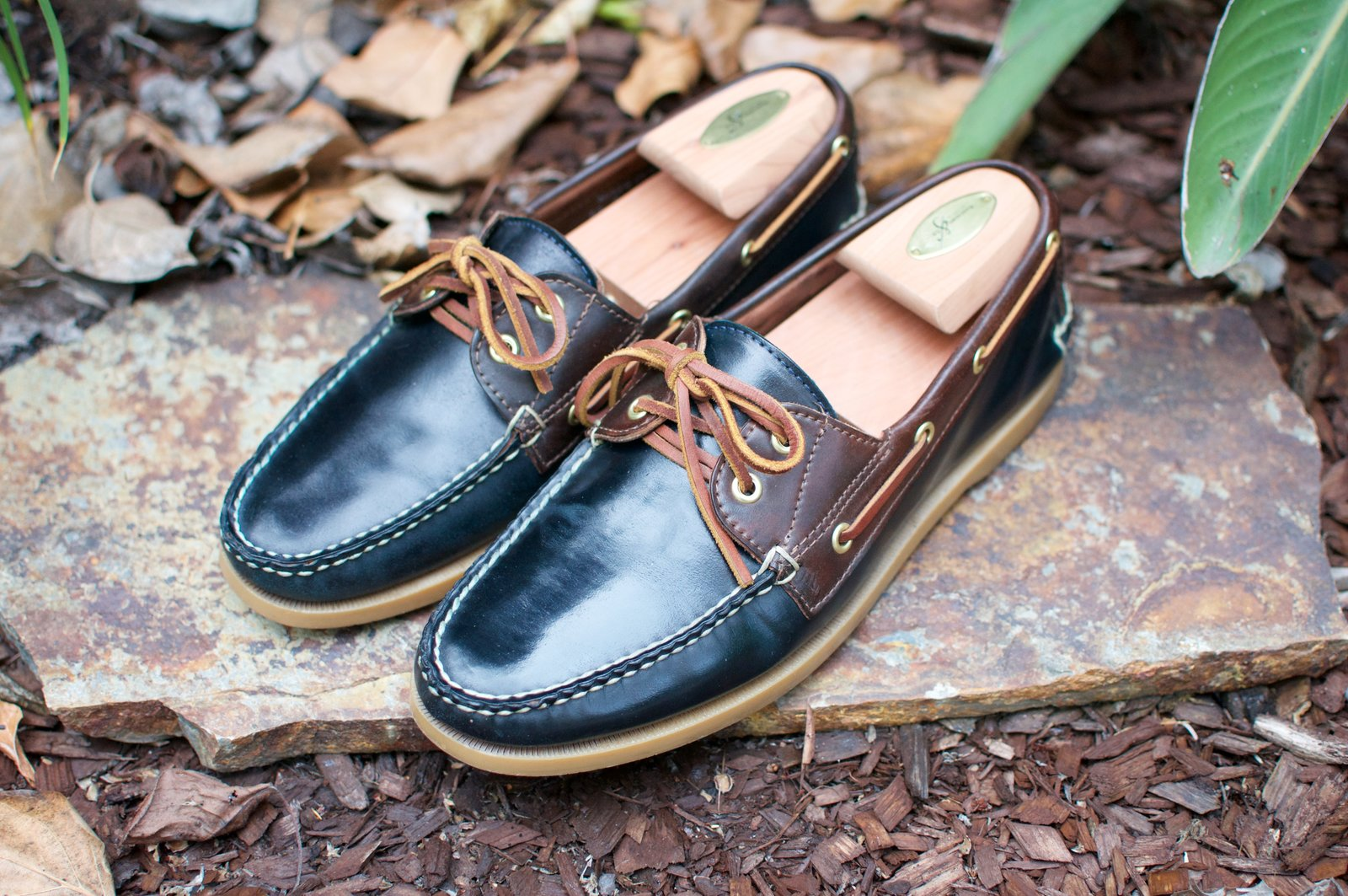 Rancourt Navy and Brown Shell Cordovan Boat Shoes - 2020-07-31 - 1.jpg