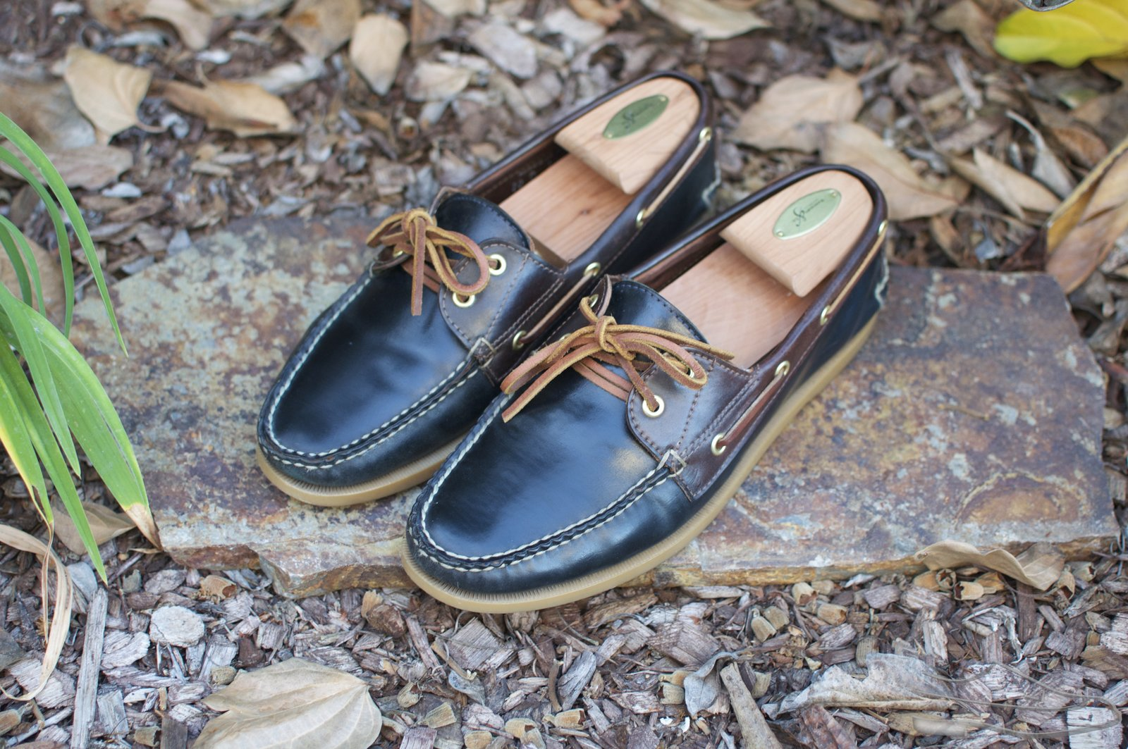 Rancourt Navy and Brown Shell Cordovan Boat Shoes - 2021-07-10 - 1.jpg
