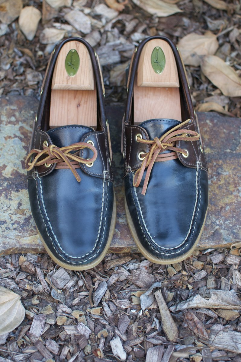 Rancourt Navy and Brown Shell Cordovan Boat Shoes - 2021-07-10 - 4.jpg
