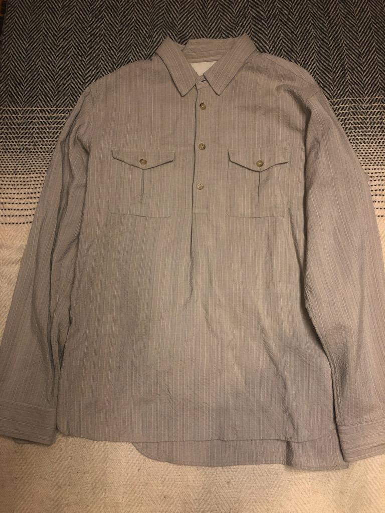 Sage de Cret wool:rayon half-button shirt in beige in size L.jpg