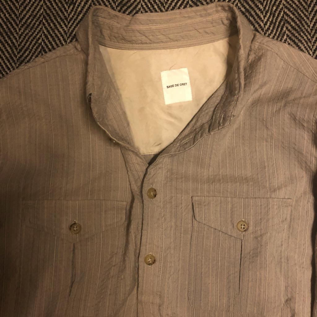 Sage de Cret wool:rayon half-button shirt in beige in size L_2.jpg