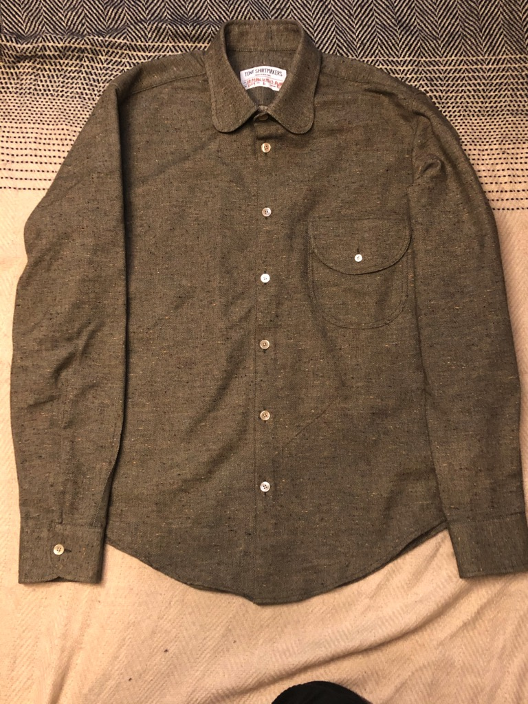 Tony Shirtmakers Round collar shirt in speckled beige wool mix in size L.jpg