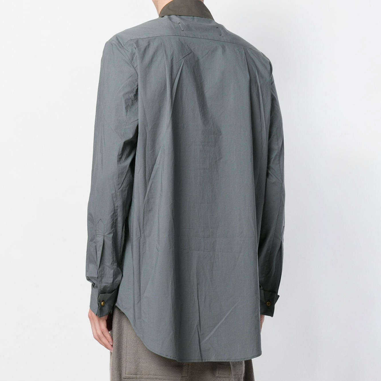 uma-wang-Green-Contrast-Fitted-Shirt (1).jpg