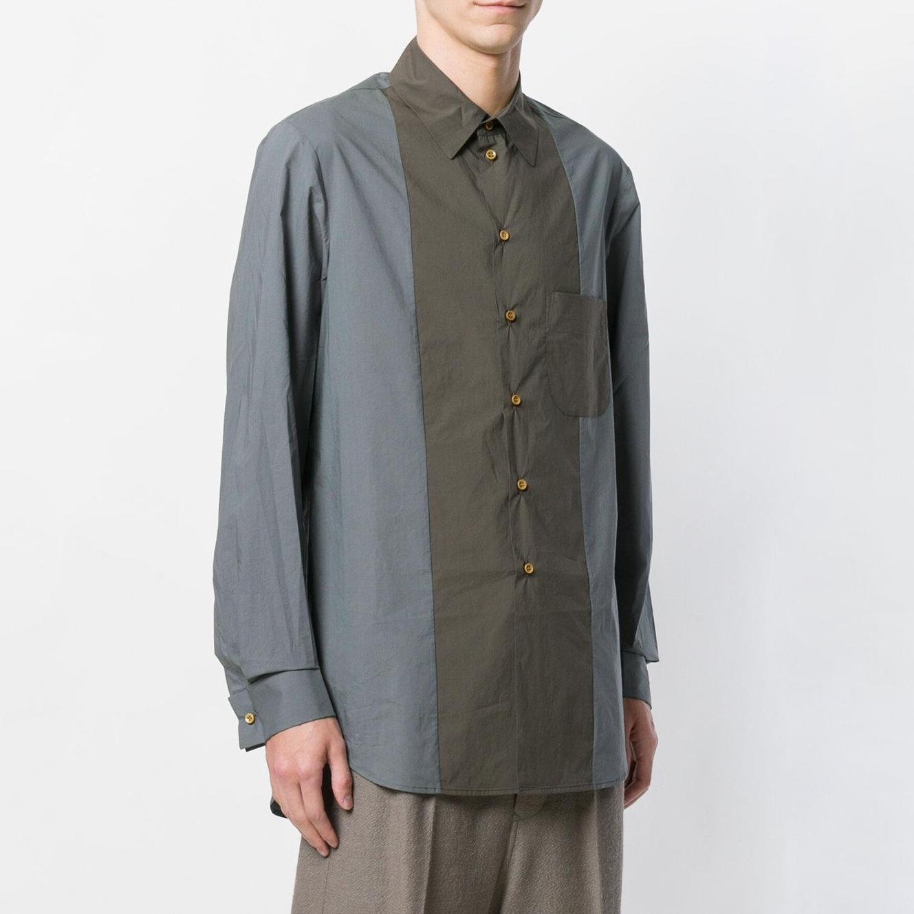 uma-wang-Green-Contrast-Fitted-Shirt (2).jpg
