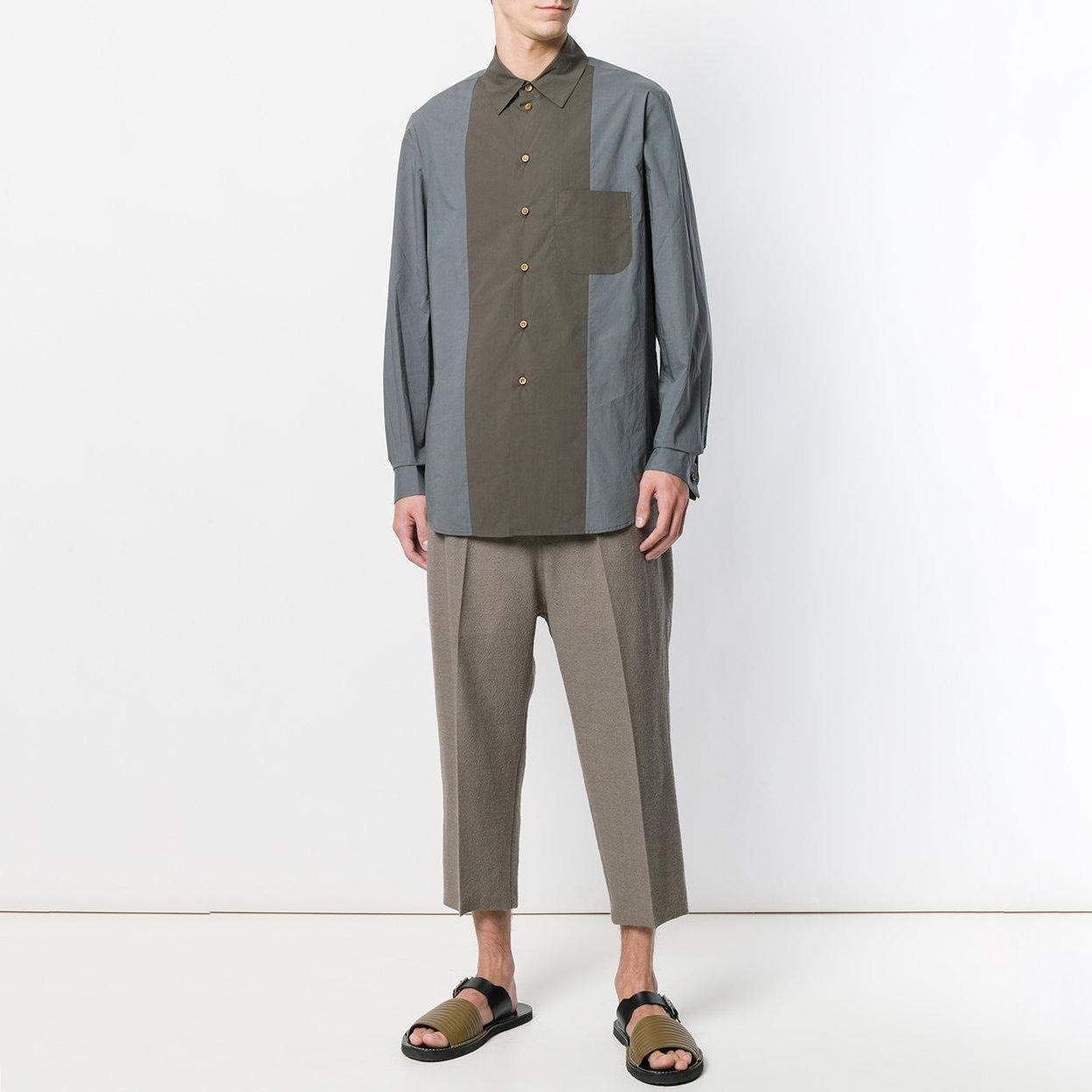 uma-wang-Green-Contrast-Fitted-Shirt (3).jpg
