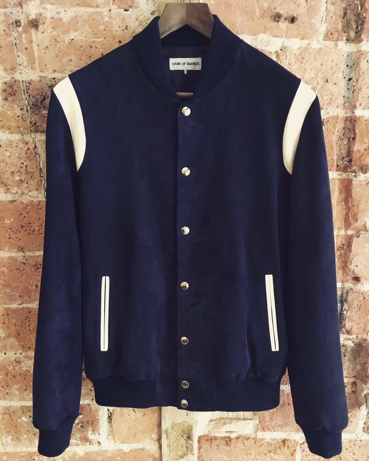 Varsity in navy blue goat suede and off white lambskin.JPG