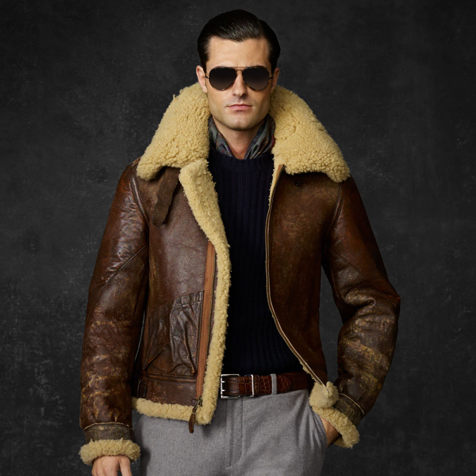 HUGE DROP! | Ralph Lauren Purple Label Bexley Shearling Aviator ...