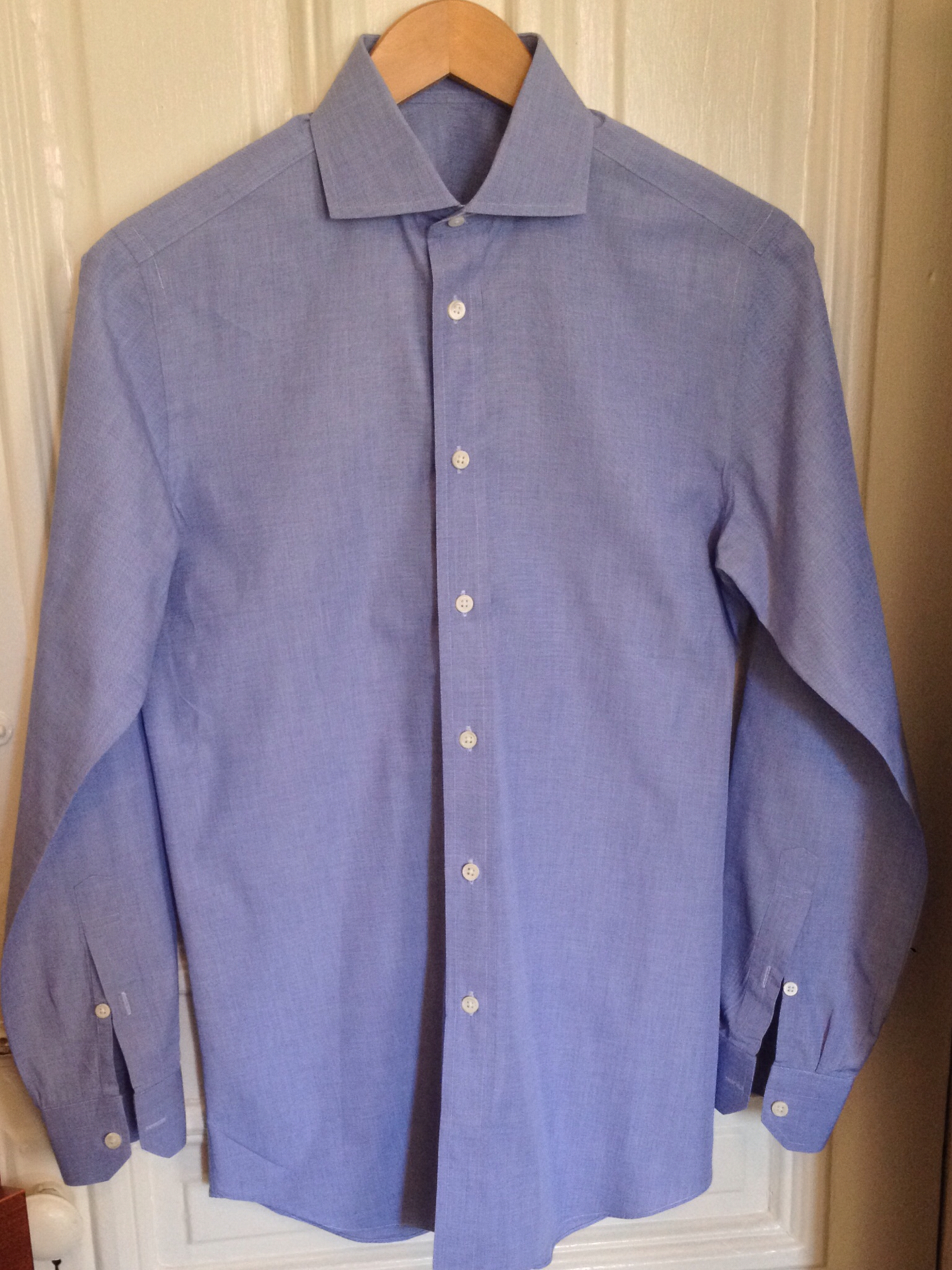 Drops closet cleaning cottonwork blue end on end for Dress shirt vs casual shirt