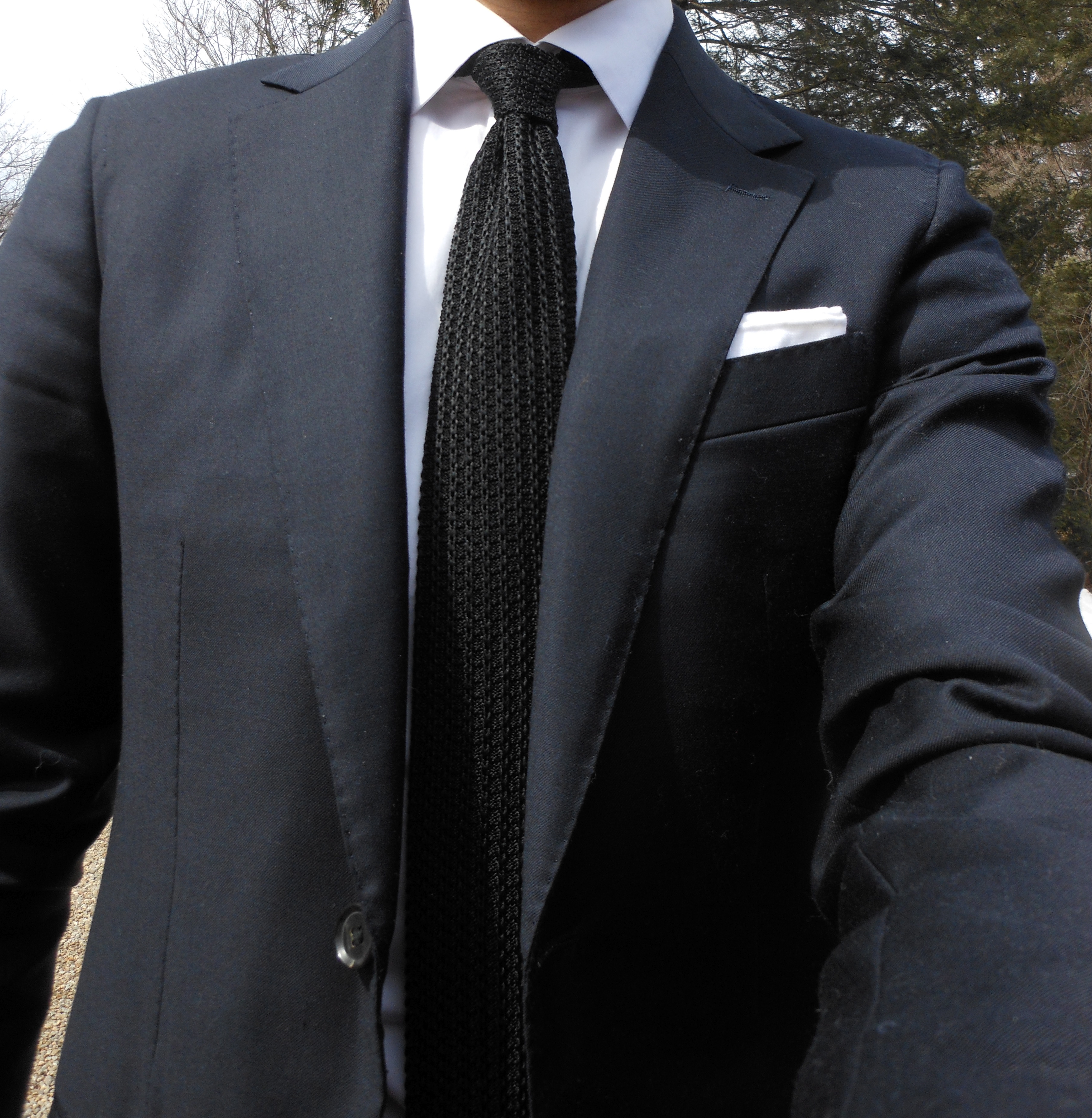 Versatility of black knit tie styleforum for Shirt and tie for charcoal suit