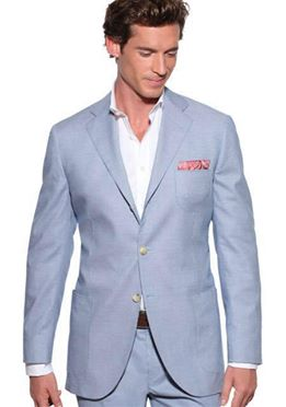 Linen/Silk/Wool Blend Light Blue Herringbone Suit 38R