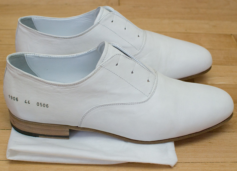 Common Projects White Lace-less Oxford Dress Shoes - Size 44 - New ...
