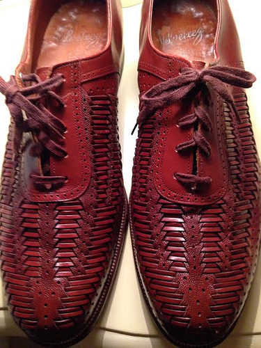Velveteez woven leather brown dress shoes 3