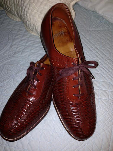Velveteez woven leather brown dress shoes 4