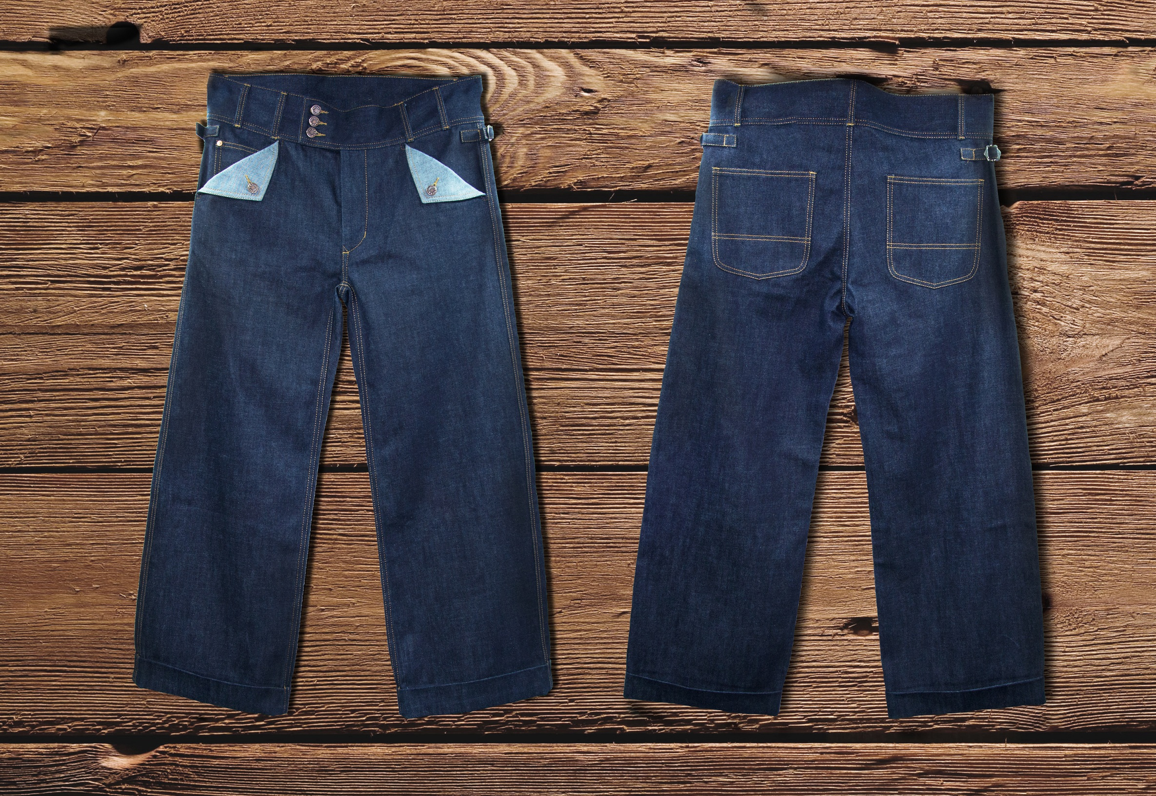 Luxire classic jeans :pocket detailing and side adjusters