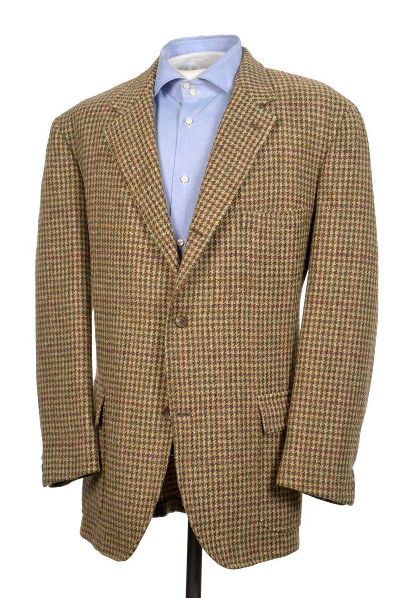 8c5bc6c7eb6 BROOKS BROTHERS Brown Houndstooth Linen Silki Sport Coat Blazer Jacket Mens  40 R -  110