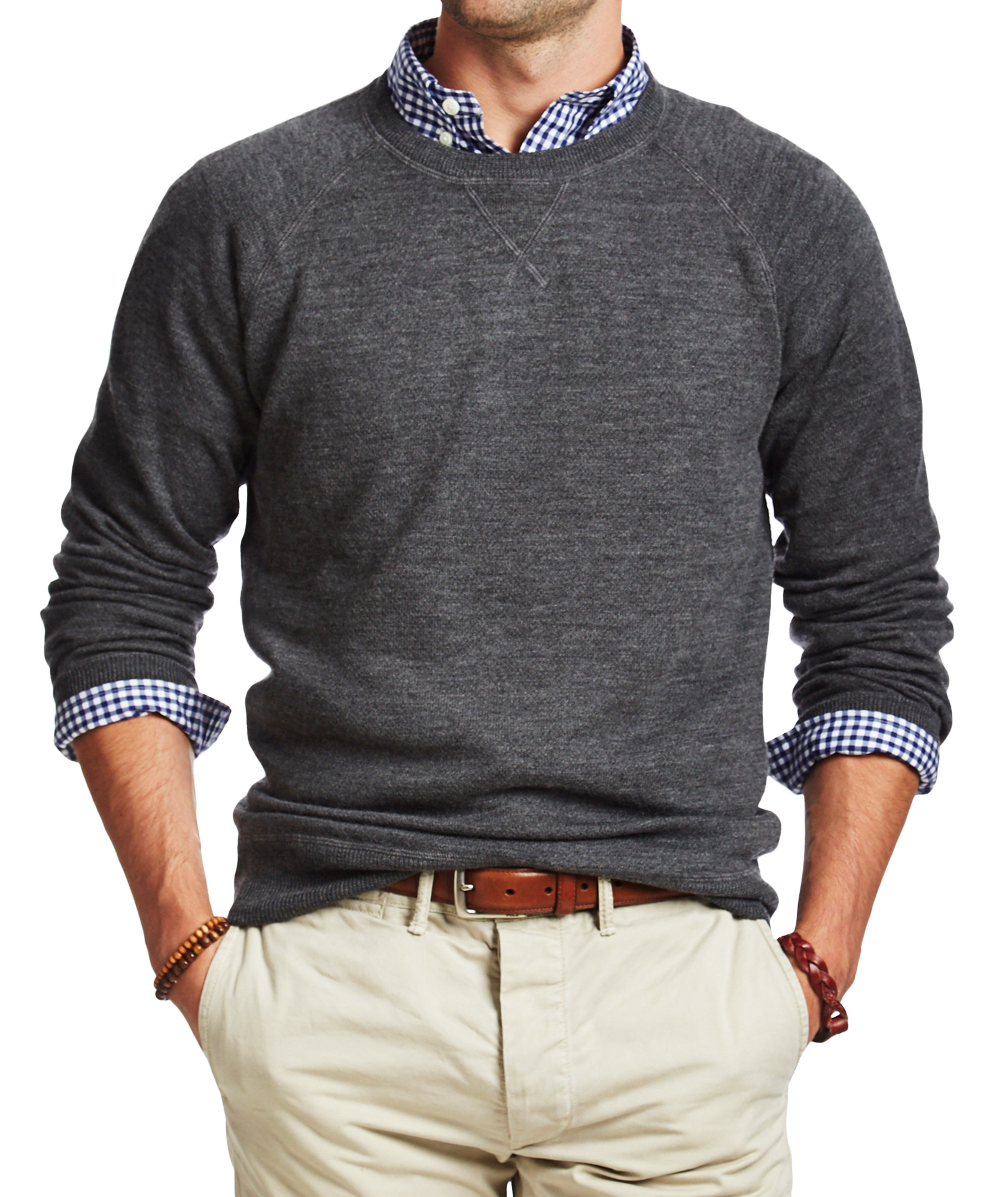 Roll Dress Shirt Sleeves With Sweater 31