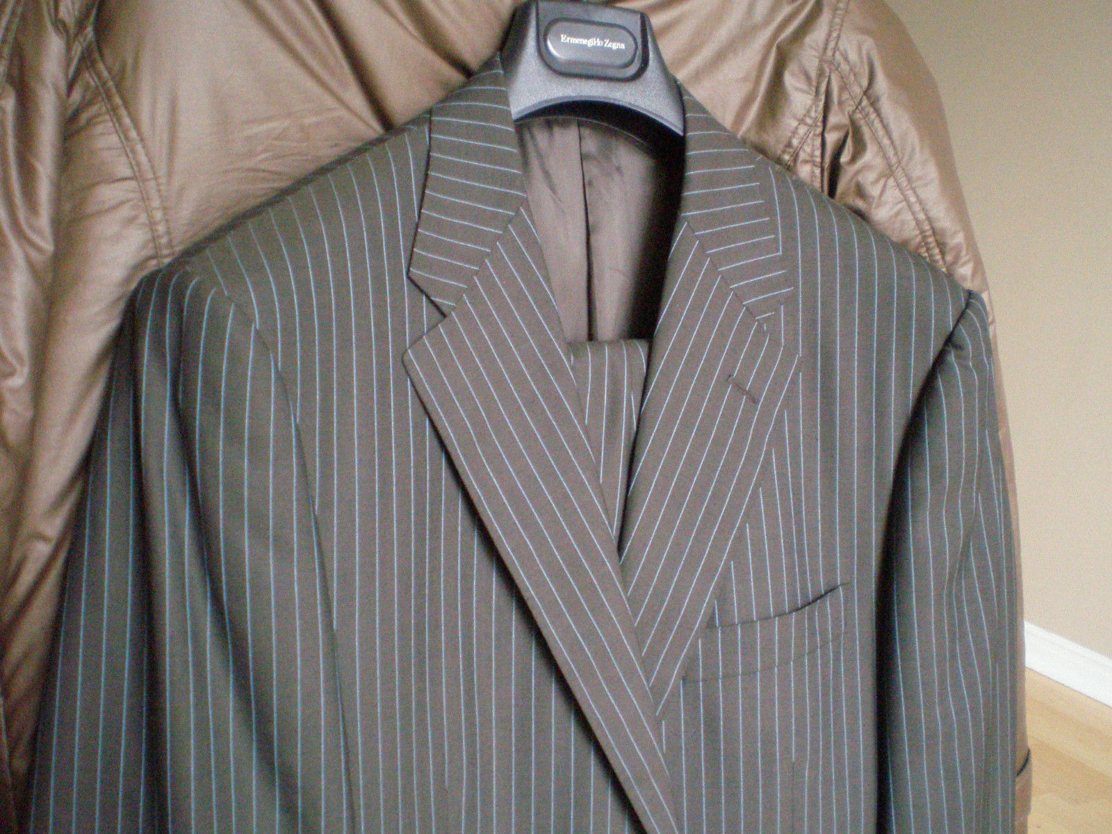 Corneliani Blue Pinstripe Brown Suit 42L