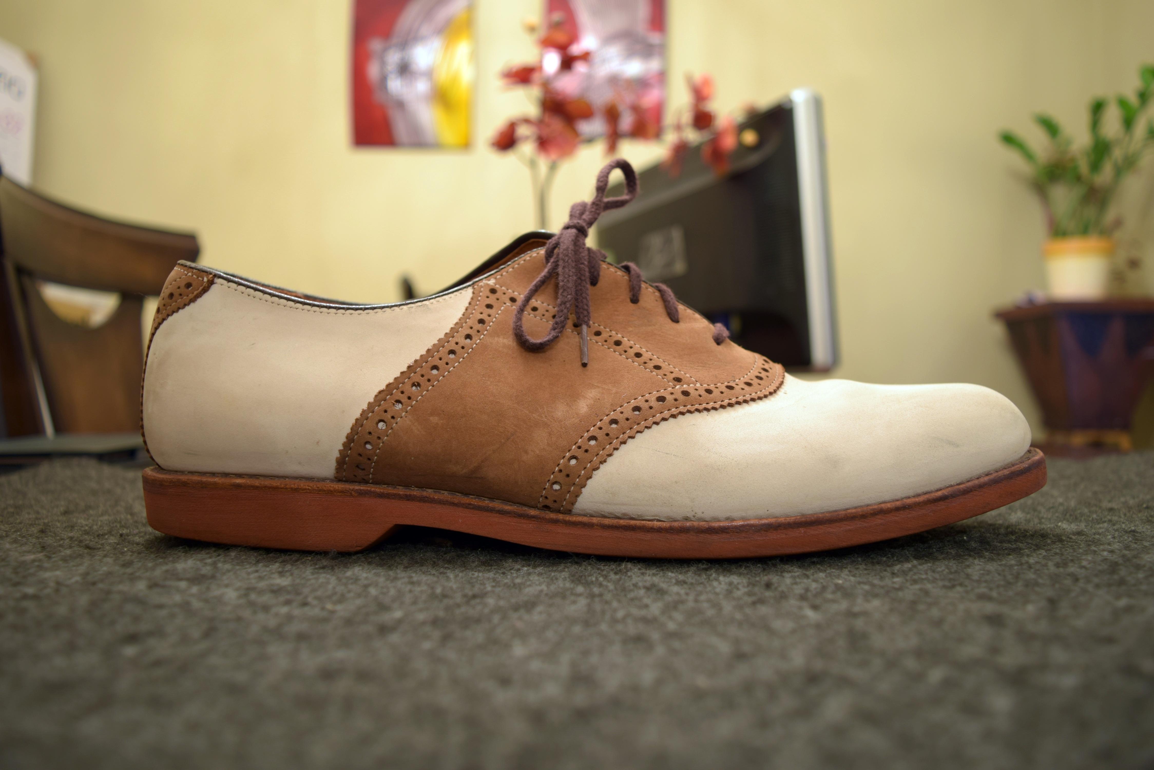 leather and nubuck oxford saddle shoes white tassel