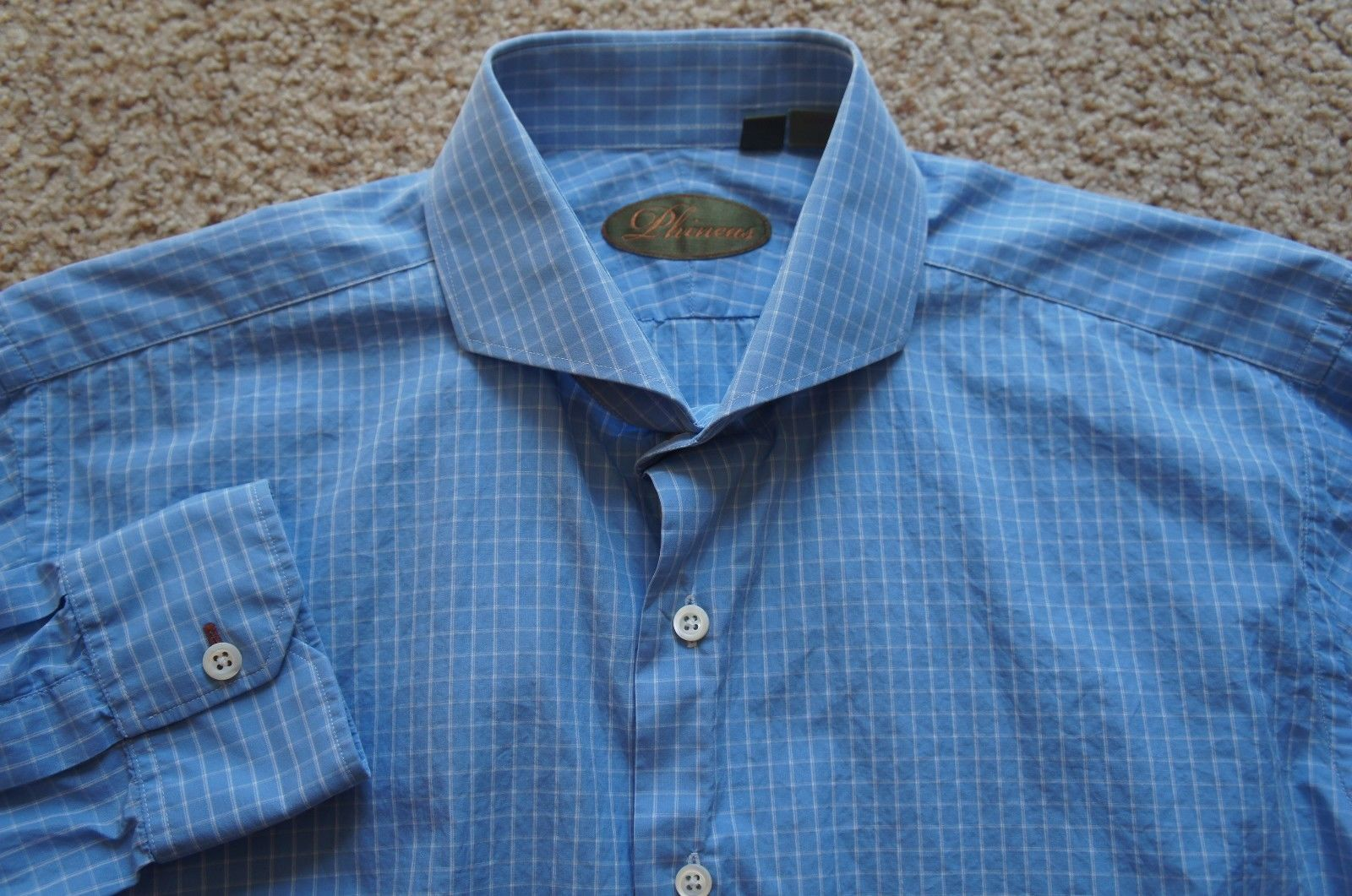 Tom Ford NWT $660 Solid Blue Slim Fit 100/% Cotton Dress Shirt 16 US 41 IT