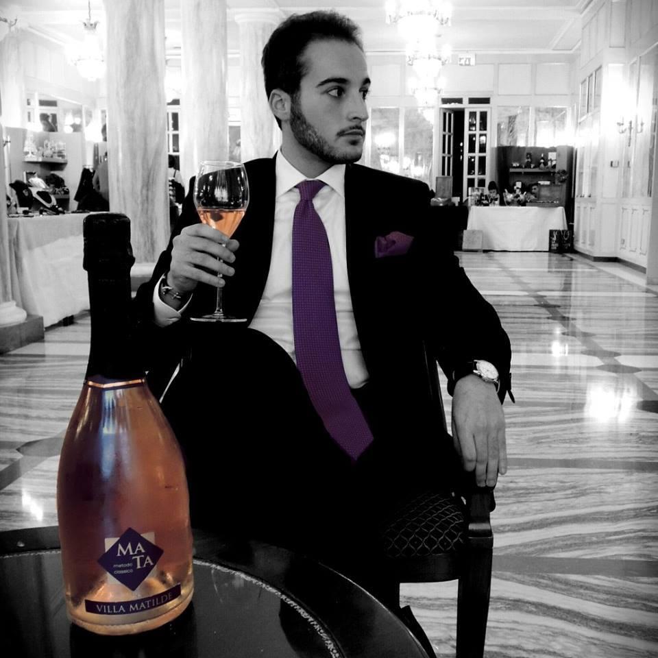 Marco Quaranta Locatelli at Grand Hotel Parker's in Naples dressing a Quaranta Locatelli neapolitan tie and pochette.