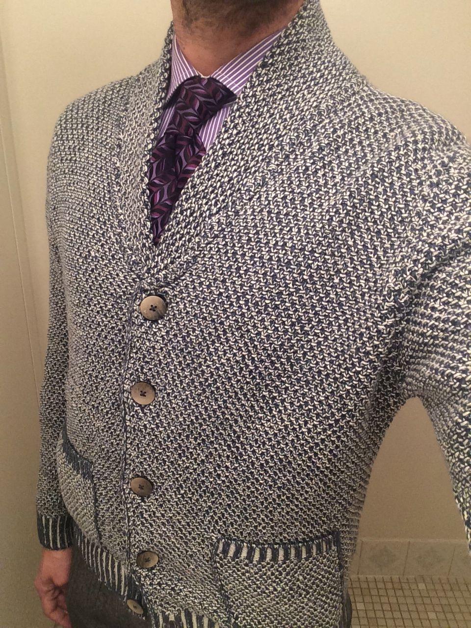 Eidos blue basket weave cardigan