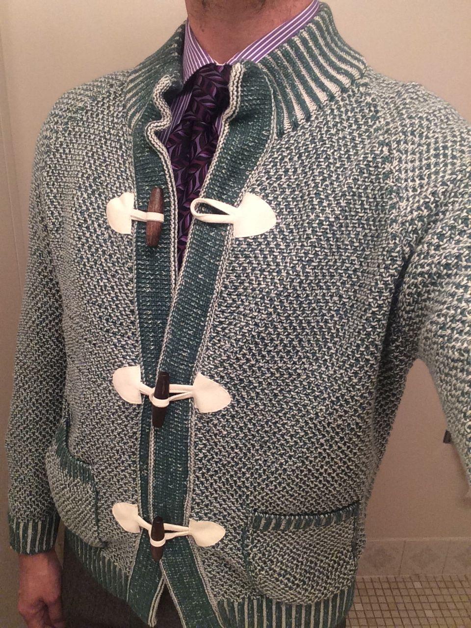 Eidos green basket weave toggle cardigan