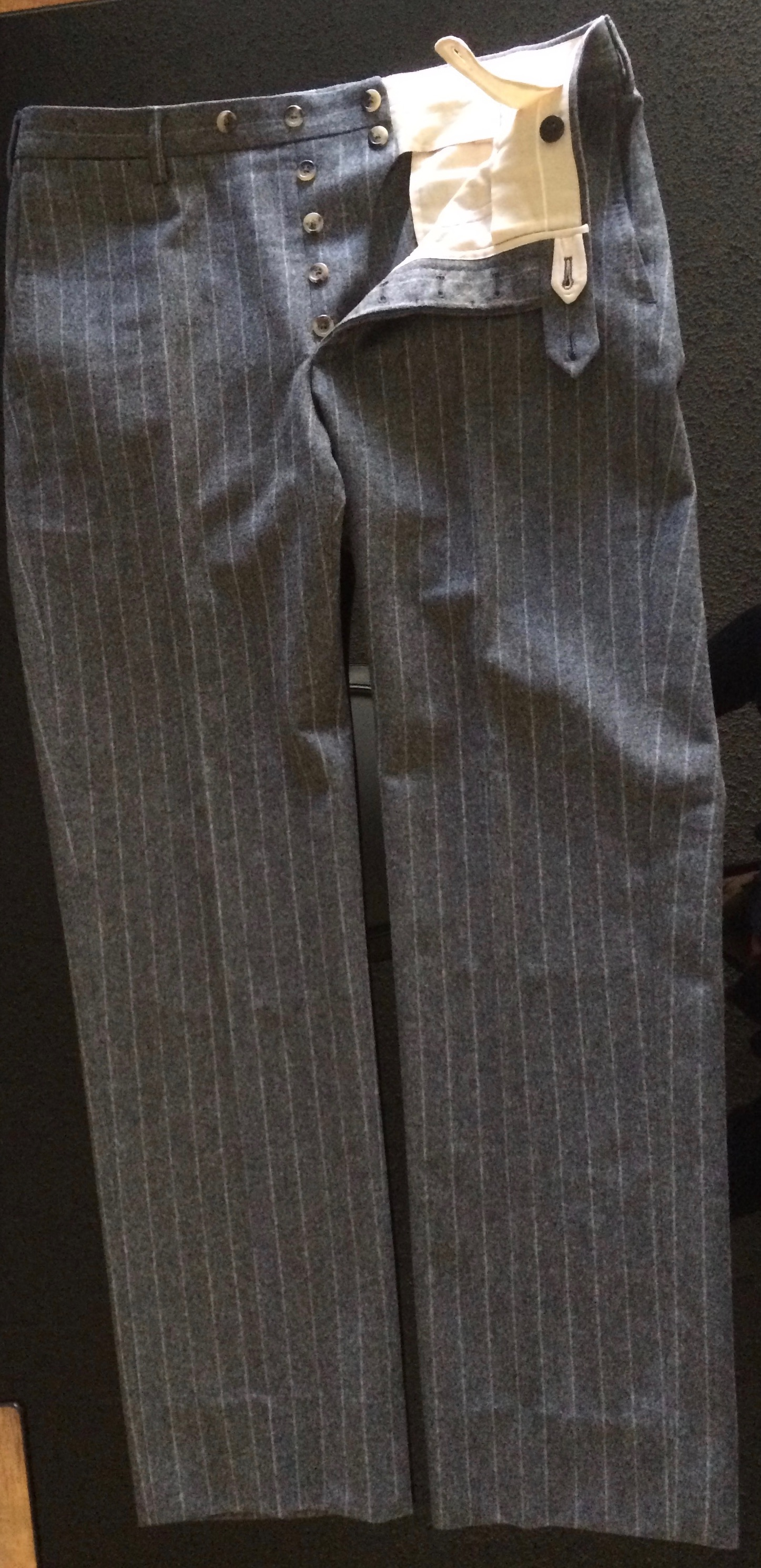 Sartoria Formosa trousers - no cuffs, flannel, button fly