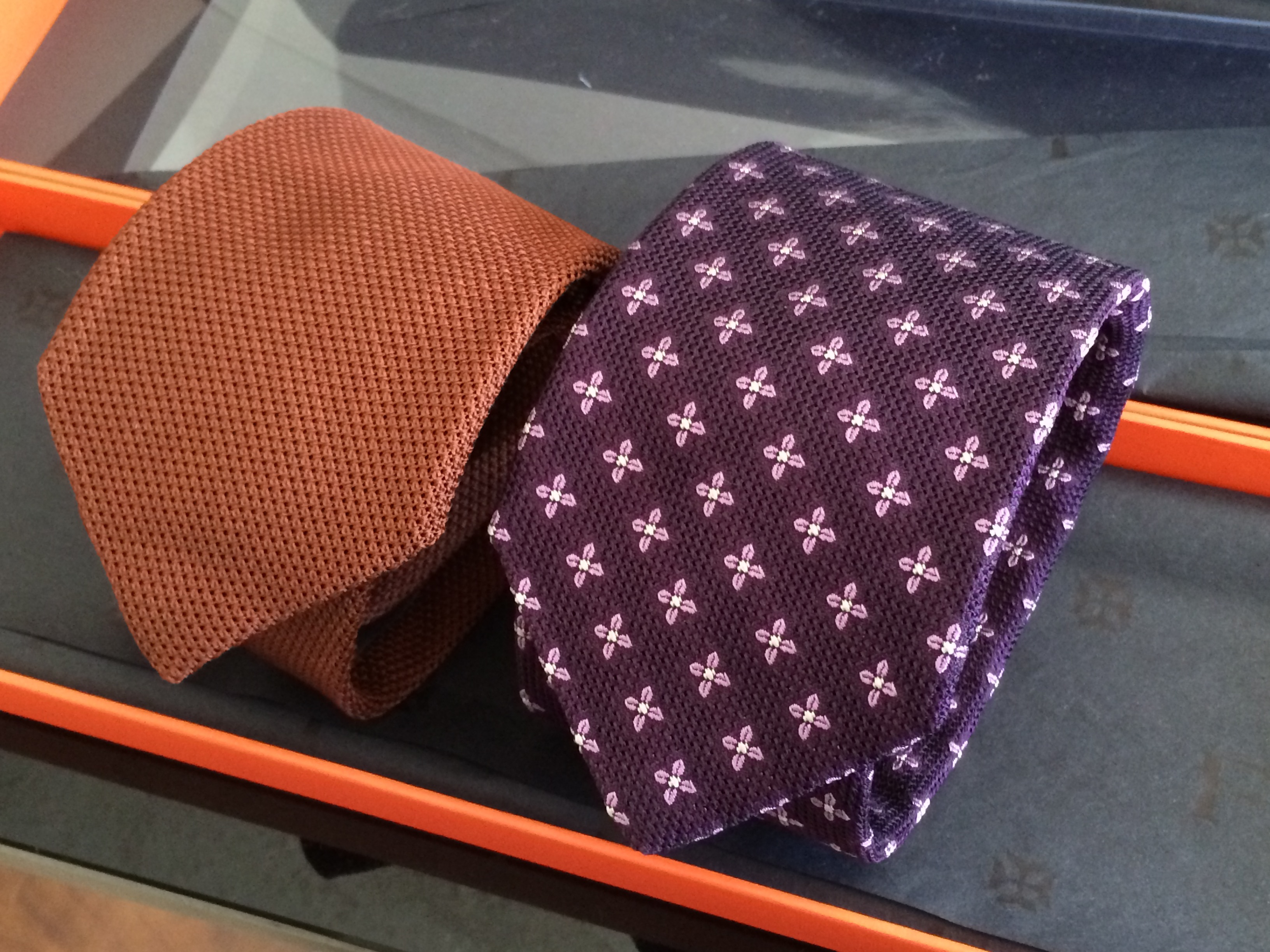 David Fin Ties - first two, Copper Grenadine, Purple Clover Grenadine