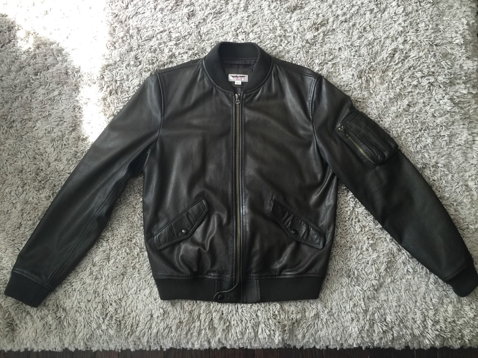 47fdc2d2b774a J.Crew Wallace & Barnes Leather MA-1 Bomber Jacket in Fatigue - Size Medium