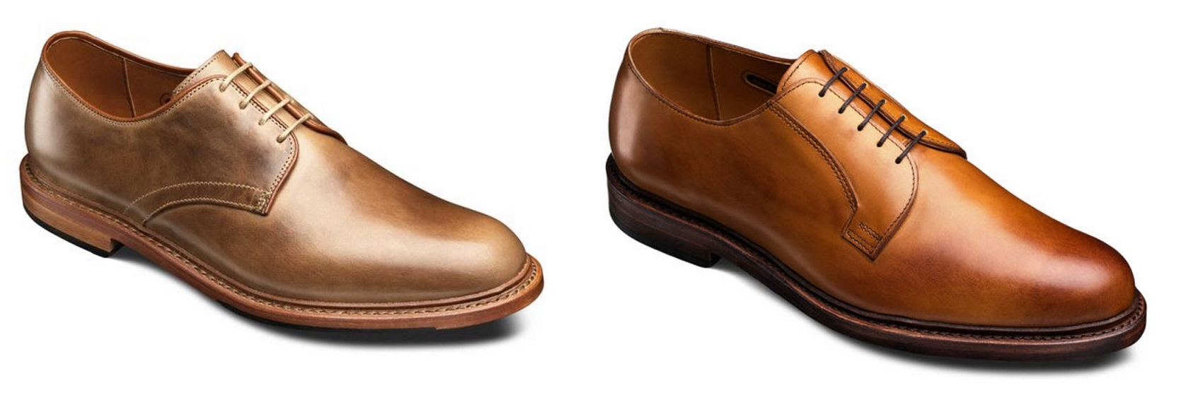 Much sleeker and less formal lines, slimmer toe, four-eyelet, etc. Add the  natural welt/edge and the leather choices and it is a whole different feel  to me ...