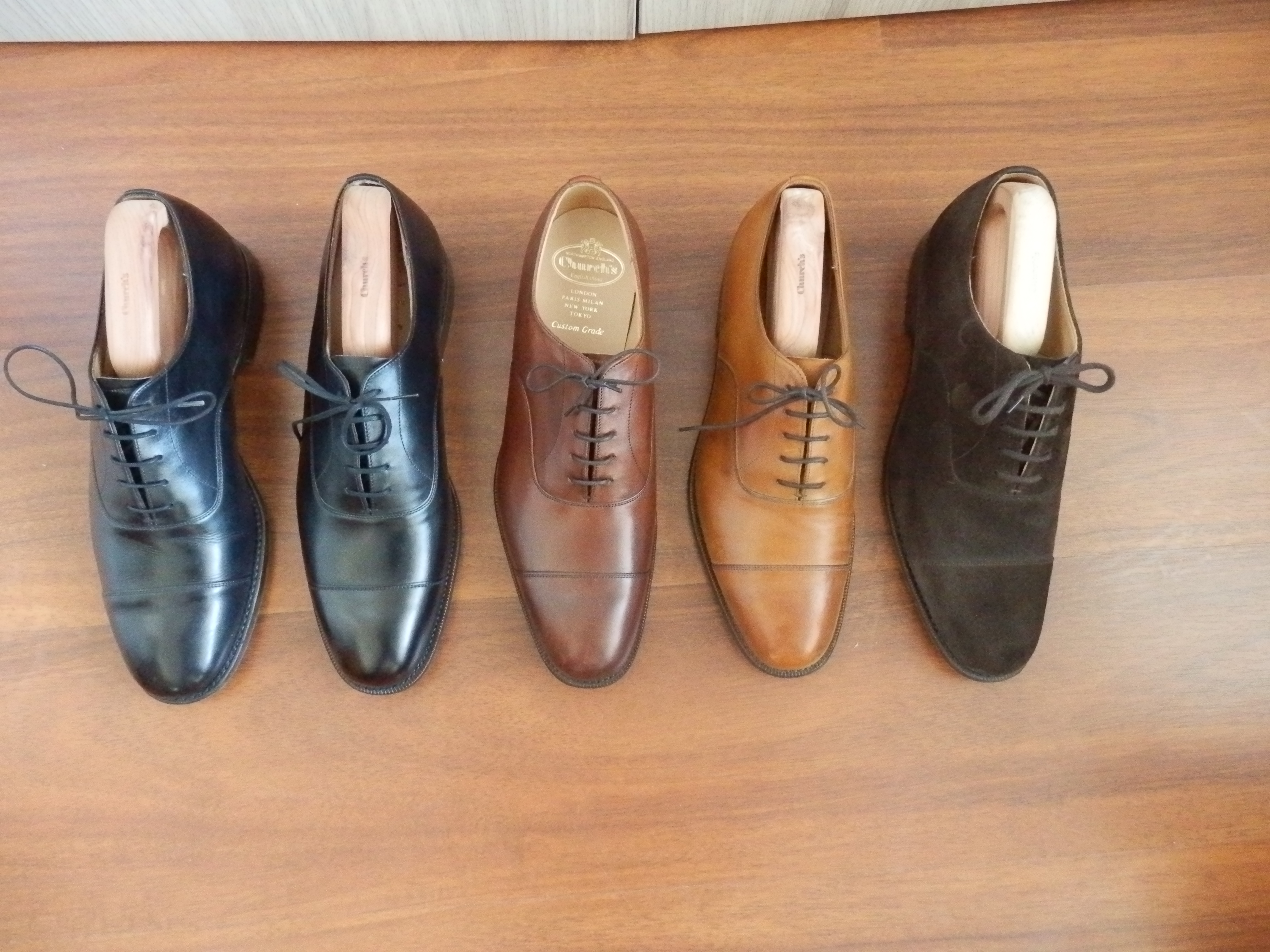 89555842e788c ... black, brown suede and walnut in 173 last. All of them in F fit, all of  them fron Herring's, the black one in 103 was my first pair of good shoes.