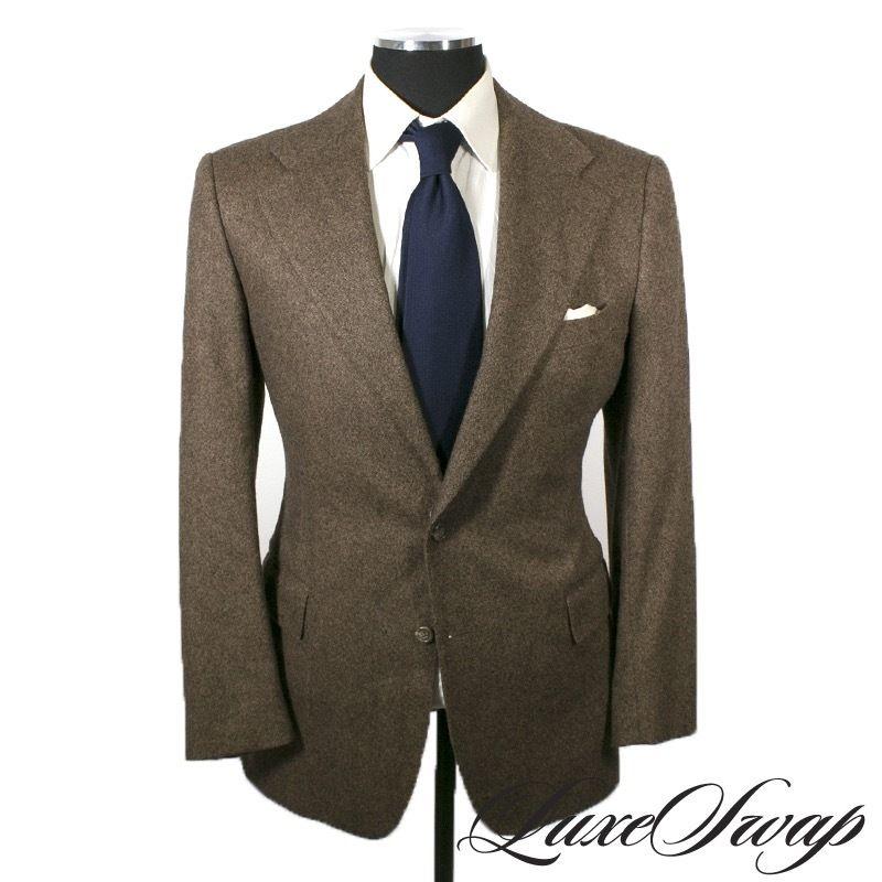 c648e6f3e2ebc2 Polo Ralph Lauren Italy Corneliani Garrison Brown Donegal Cashmere Mix Suit  42 R