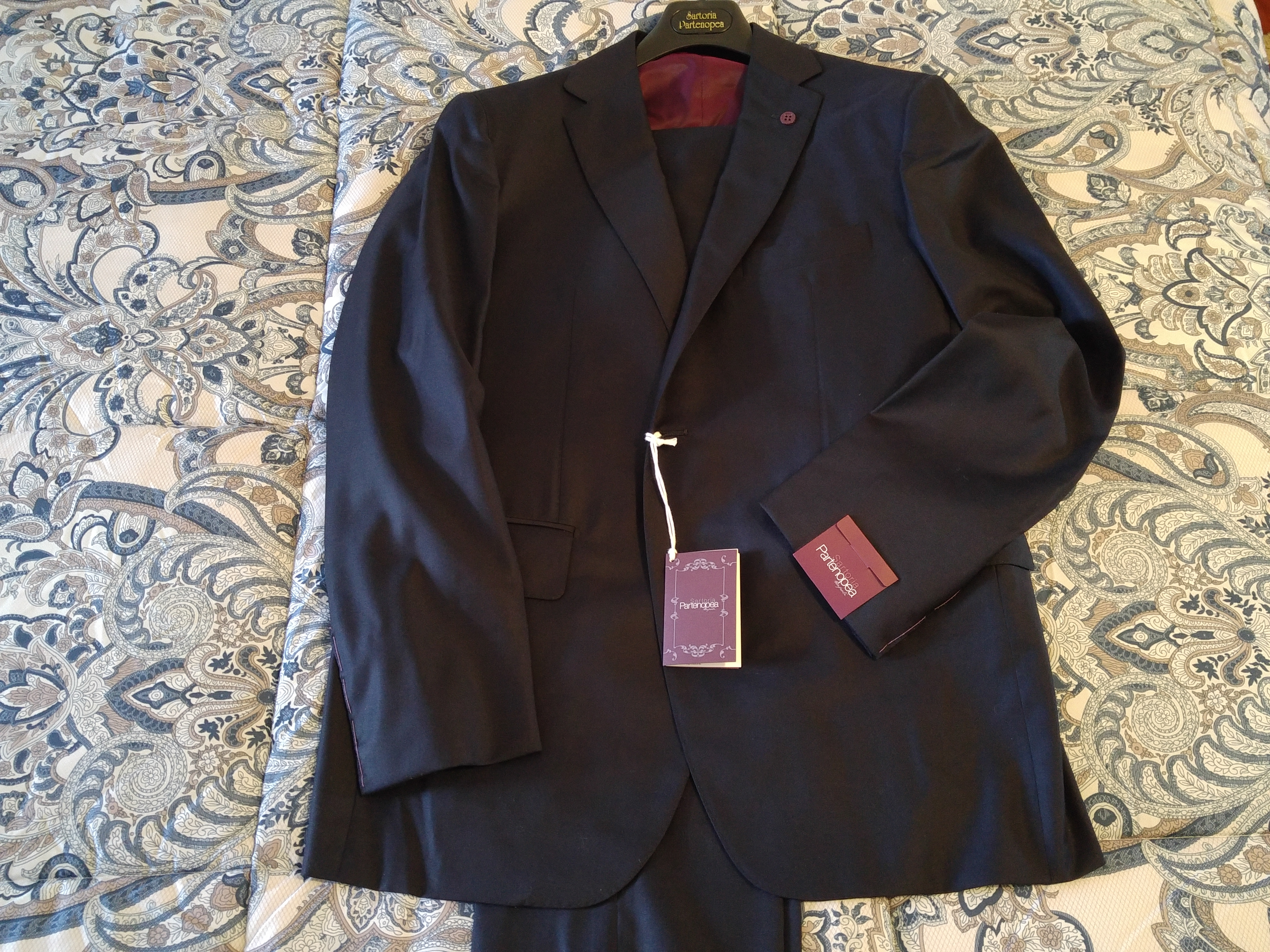 29180b76111d NWT Sartoria Partenopea Solid Navy 2 Button 3pc Suit 52 42 Fits 40R ...