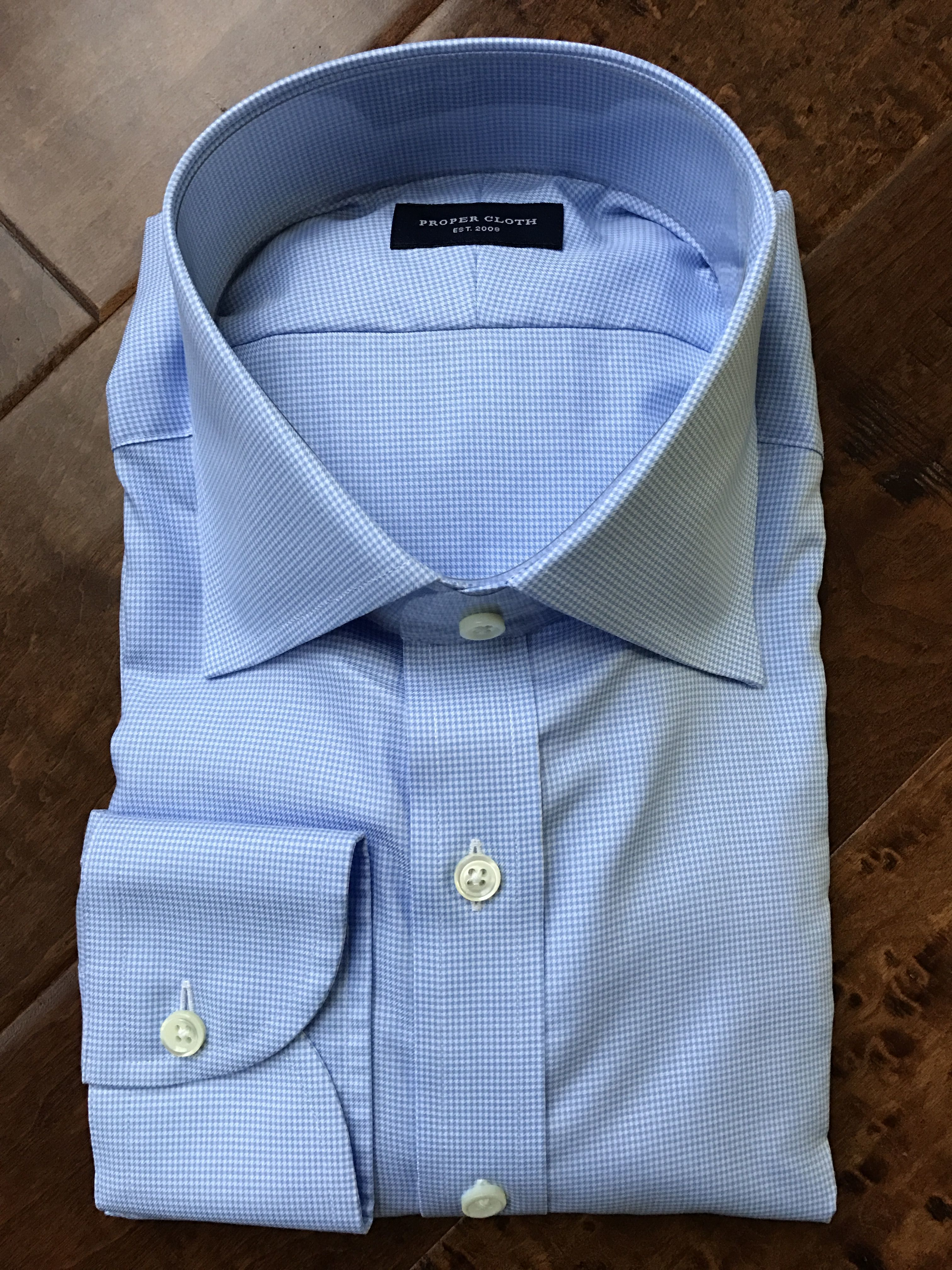 78ba59eb3bb New shirt. Took a chance on this fabric (Morris Light Blue  Wrinkle-Resistant Houndstooth) and I really love it.