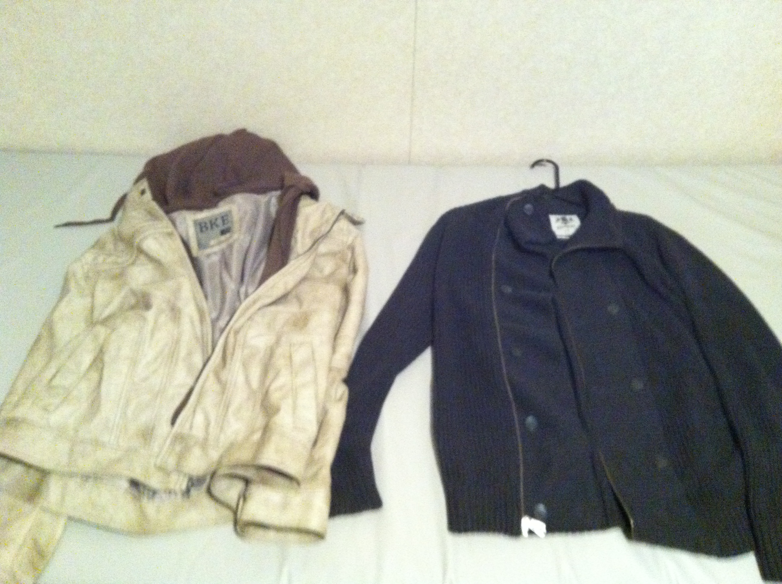 BKE Leather Jacket and Express Double Breasted Zip up Sweater