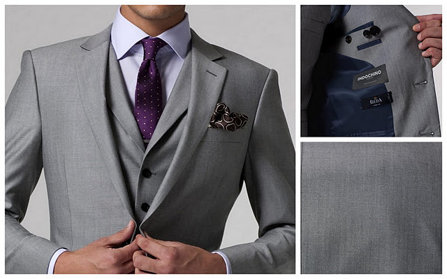 Bespoke three piece suit for groom for What color shirt with light grey suit
