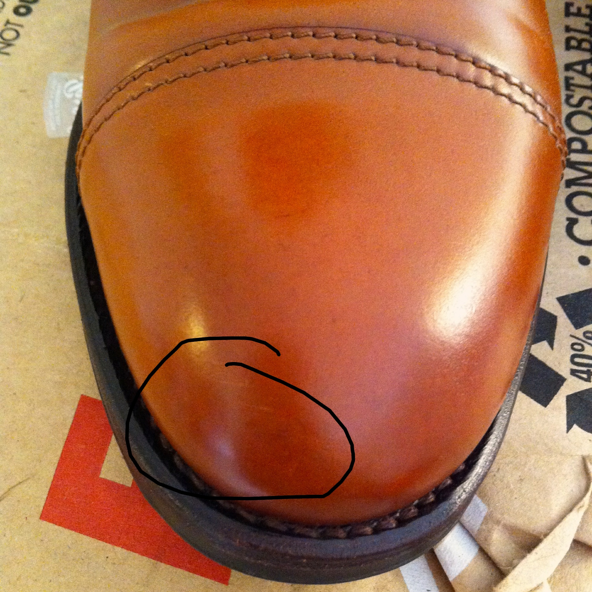 Some minor scuffs in my shell cordovan boots