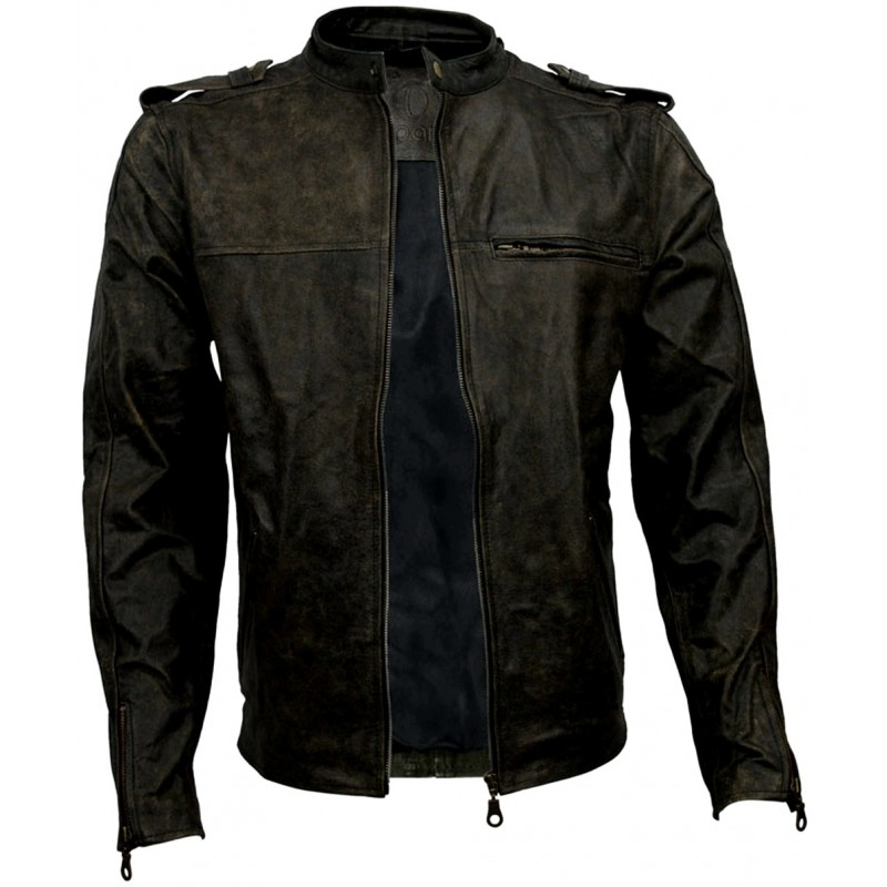 mens-distressed-black-tan-cafe-racer-leather-biker-jacket-unzip.jpg